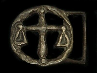 TC11154 VINTAGE 1970s LIBRA (SCALES) ASTROLOGY & ZODIAC SOLID BRASS BUCKLE