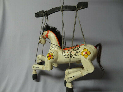 Collectible Hand Carved Jointed Burmese Wood Horse Marionette/Puppet