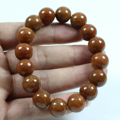 Certified Grade A  Jadeite Jade Brown 14mm Beads hand chain Bracelets  j813