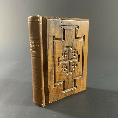 ANTIQUE c.1900 THOMAS NELSON NY USA NEW TESTAMENT OLIVE WOOD JERUSALEM COVERS