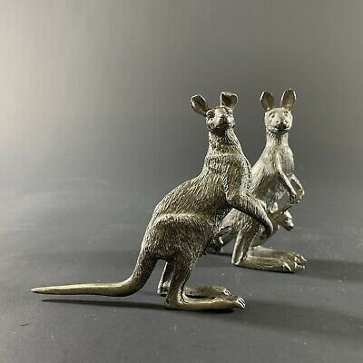 Beautiful Vintage Pair Australian Pewter Kangaroos Joeys Artist Made Sculptures