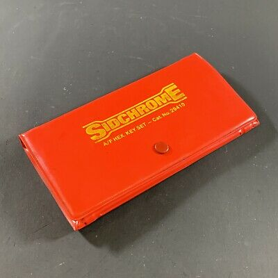 VINTAGE SIDCHROME CAT.No. 29410 A/F IMPERIAL HEX KEY SET IN WALLET AUST MADE