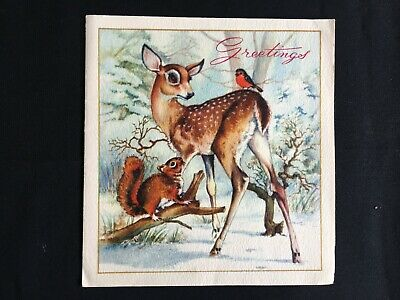 Vintage Collectable Greeting Card - c1950-60 - Deer, Robin & Squirrel - Animals