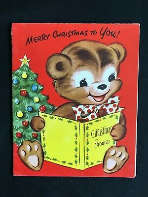 Vintage Collectable Greeting Card - c1956 - Teddy Reading Stories - Christmas