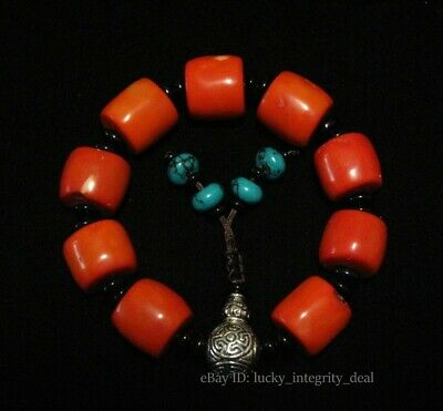 Beautiful Chinese Old Red Coral Beads Bracelet