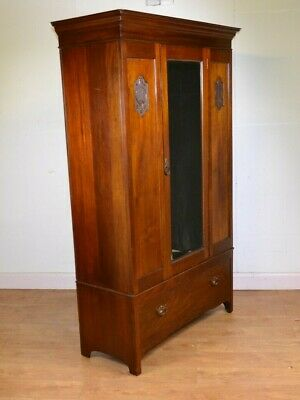 Antique Scotish Single Wardrobe, Carved Panels, Mahogany, Bottom Drawer
