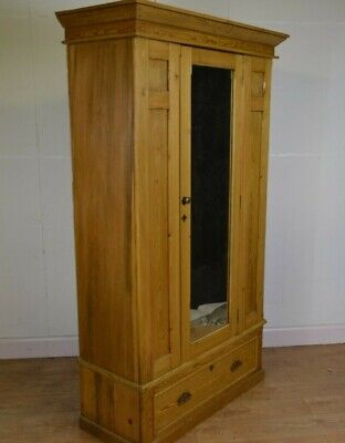 Antique Pine Single Wardrobe, Bottom Drawer