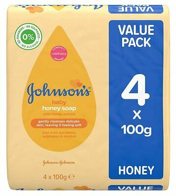 Johnson's Baby HONEY Soap with Honey Extract Value Pack (4 x 100g)