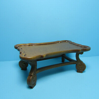 Dollhouse Miniature Wood Square Coffee Table with Carved Sides in Walnut T6781