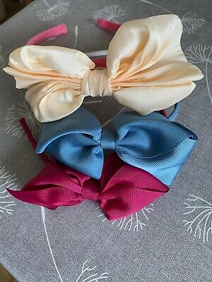 Girls Selection Of Pretty Headbands With Large Bows X2 Are Cosgrain Ribbon