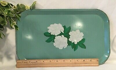 """Mid Century Modern Serving Tray Turquoise with White Azalea Flowers 14""""x8 5/8"""""""