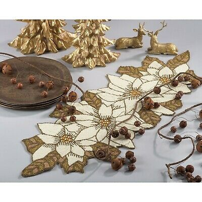 Fennco Styles Hand Beaded Pointsettia Table Runner, Placemat