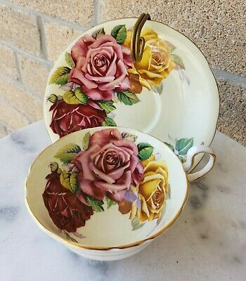 Beautiful Aynsley Large Cabbage Pink Red Yellow Rose Wide Mouth Tea Cup & Saucer
