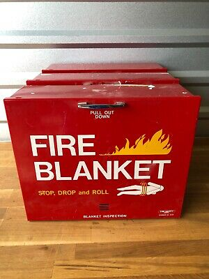 """Lot Of 3 LAB SAFETY SUPPLY Fire Blanket Safety Cabinet Red 16.5 x 13.5 x 5.5"""""""