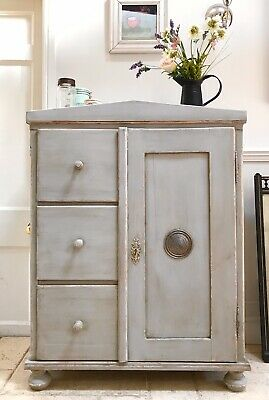 Antique Solid Pine Continental Painted Grey Larder Hall Cupboard with Drawers