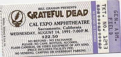 Grateful Dead Ticket Stub  08-14-1991  Cal Expo Amphitheatre  **Mail Order**