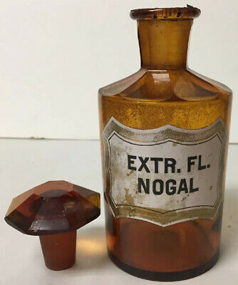 Early Apothecary Drugstore Label Amber Nogal Glass Bottle Jar Faceted Stopper