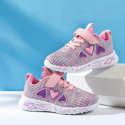 Kids Toddler Girls Fastening Mesh Breathable Sneakers Walking Sports Shoes Size