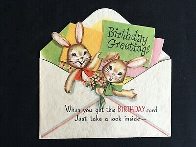Vintage Collectable Greeting Card - c1950s - Cute Little Bunnies - Envelope Card