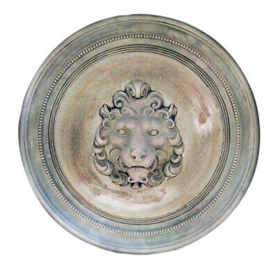 Large Roman Lion Head round wall sculpture plaque
