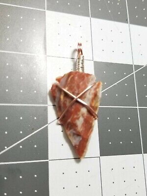 Hand Crafted By A Native American Cherokee Hand Knapped Agate Wire Wrapped Arrowhead Necklace Pendant