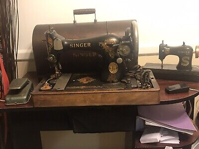 1926 SINGER SEWING MACHINE W/ LIGHT AND CASE. ANTIQUE. Serial AB194355