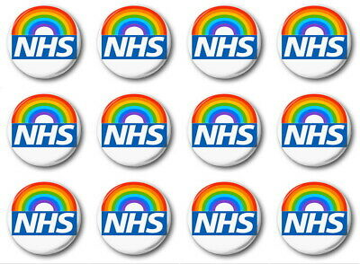 12 X NHS RAINBOW - BUTTON PIN BADGES - 1 inch / 25mm  - THANK YOU + 10% DONATION