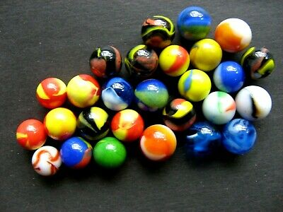 Vintage 27 Mixed Marbles Lot Akro Agate  Ect
