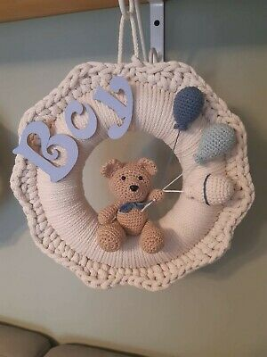Handmade Nursery Children Wreath Baby Shower Birthday Baby Boy Girl Room Decor