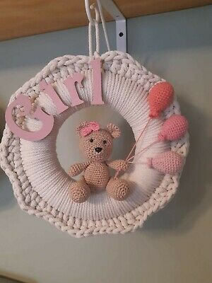Handmade Nursery Children Wreath Baby Shower Birthday Baby  Girl Room Ornament