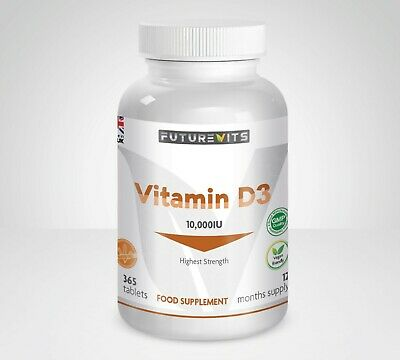 Vitamin D3 10000iu Highest Strength 10,000iu 365 Tablets Futurevits UK