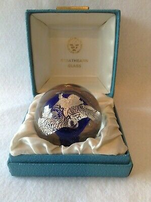 Art Glass Paperweight (Strathearn?) with Dark Blue Ball & Silver Leaf in Center