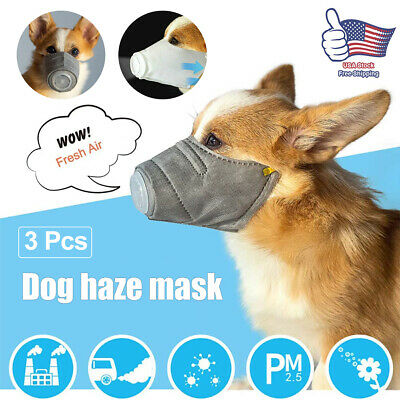 3pcs Pet Dogs Mouth Anti Fog Smog Pollution Breathable Muzzle Face Cover Outdoor