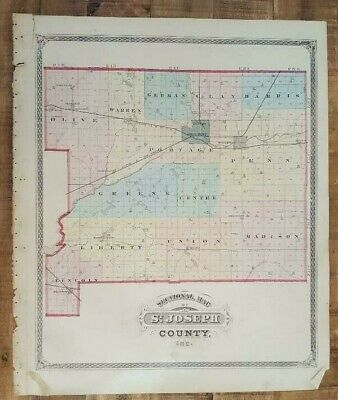 Antique Map 1875 - Sectional Map Of St.joseph County, Indiana / Historical Atlas