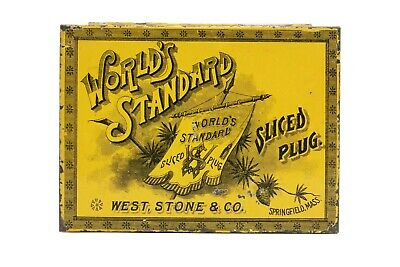 "Scarce 1900s ""World Standard"" hinged litho 4oz. tobacco tin in very good cond"