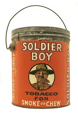 "Scarce 1910s "" paper label ""Soldier Boy"" bucket tobacco tin in fair condition"