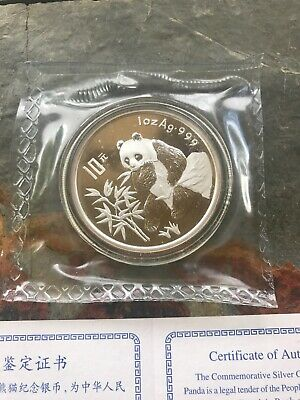 1996 China Panda 10 Yuan Silver Proof 1oz Coin in Double Sealed Packaging