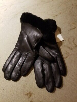 UGG Authentic Genuine Dyed Shearling Trimmed Shorty Leather Gloves Large