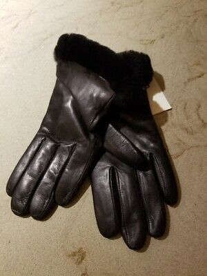 New w/t UGG Authentic Fashion Shearling Trimmed Leather Shorty Gloves Medium