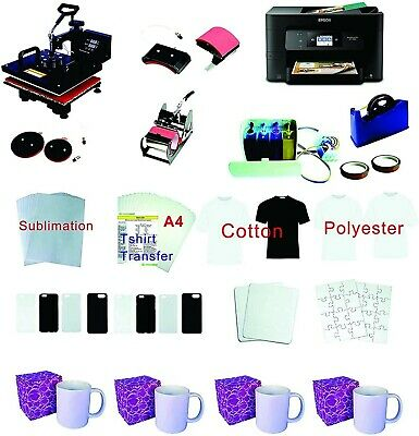 """15""""x15"""" 5in1 Pro Sublimation Heat Press Epson WF-3720 printer CISS material KIT"""