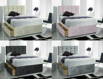 """Brand New Crushed Velvet Divan Bed With Matching Mattress And Free 20"""" Headboard"""