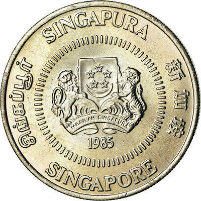 [#851452] Coin, Singapore, 50 Cents, 1985, British Royal Mint, MS, Copper-nickel