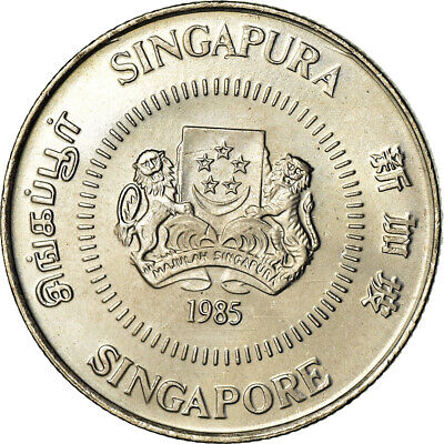 [#851450] Coin, Singapore, 10 Cents, 1985, British Royal Mint, MS, Copper-nickel