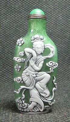 Chinese Seiko Glass Carve Dancing Fairy Design Snuff Bottle//***