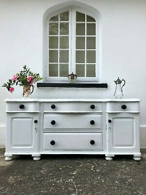 Antique Victorian Pine White Dresser Base Sideboard With Drawers DEL ENG/WALES