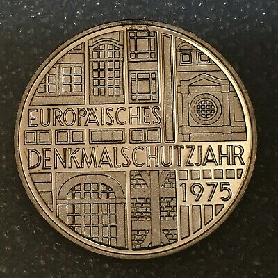 """1975 F Germany 🇩🇪 SILVER 5 DEUTSCHE MARK """"Protection of Monuments""""(.625) PROOF"""