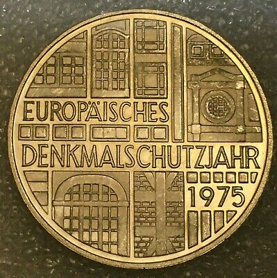 """1975 F Germany 🇩🇪 SILVER 5 DEUTSCHE MARK """"Protection of Monuments""""(.625) AU"""