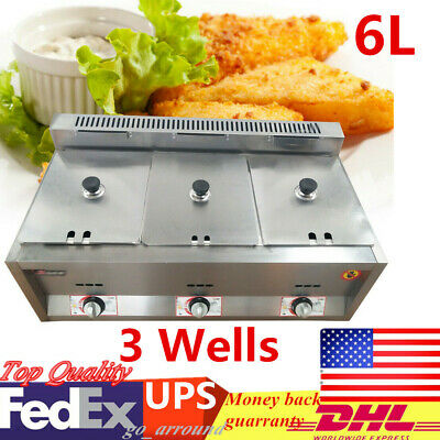 6L Commercial Countertop Deep Gas Fryer 3 Wells Stainless For Restaurants Home