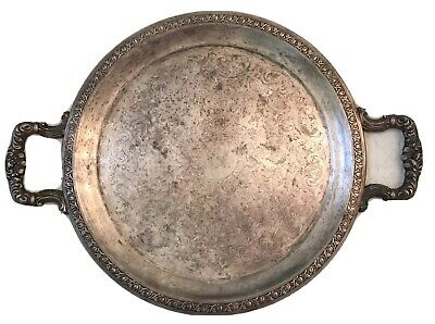"""Vintage Silverplate Antique 12"""" Serving Tray with Handles Nice Patina"""