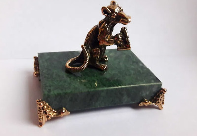 Statuette art Bronze Figurine Rat Mouse with Cheese Handmade gift Home decor